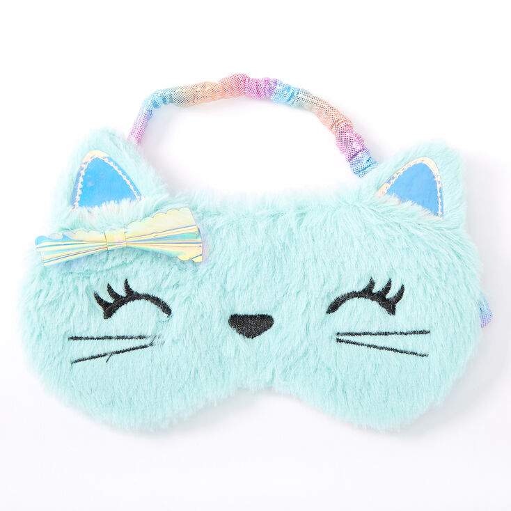Claire's Club Holographic Kitty Sleeping Mask - Mint,