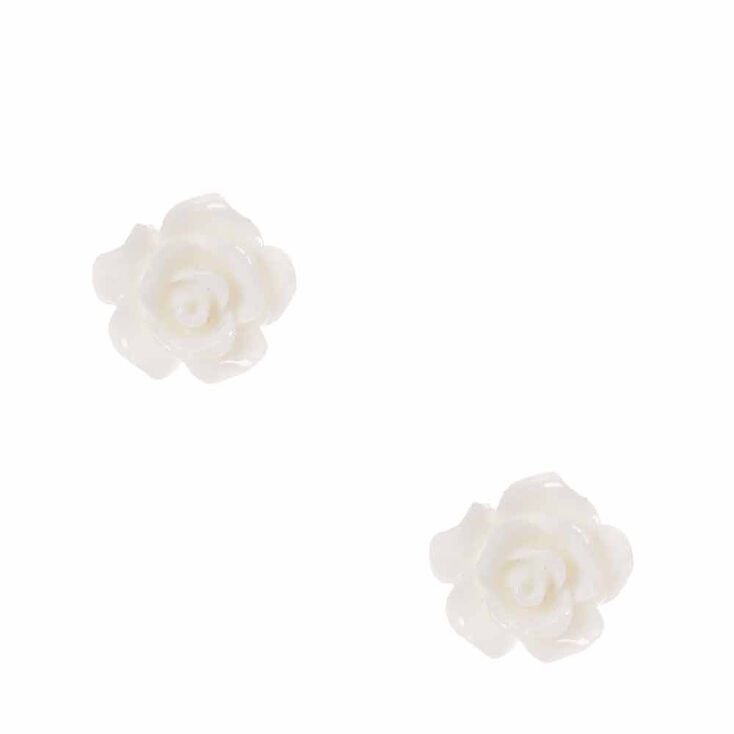 Carved Rose Stud Earrings - Ivory,