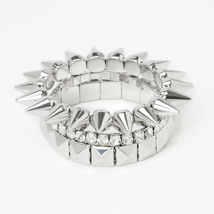 Silver Spikes Stretch Bracelets - 3 Pack,