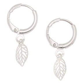Silver 10MM Leaf Huggie Hoop Earrings,