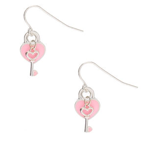Key To Your Heart Drop Earrings - Pink,
