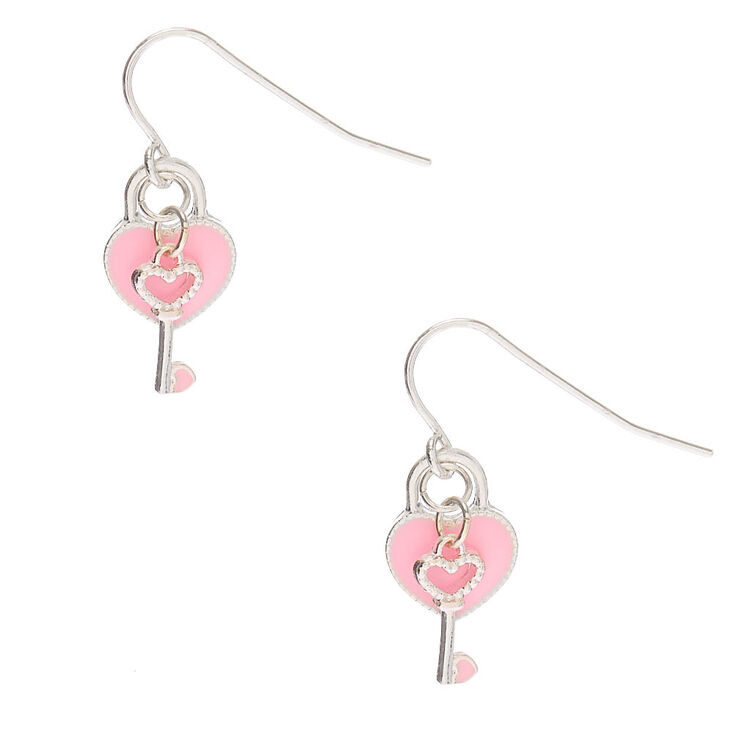 Key To Your Heart Drop Earrings - Pink,