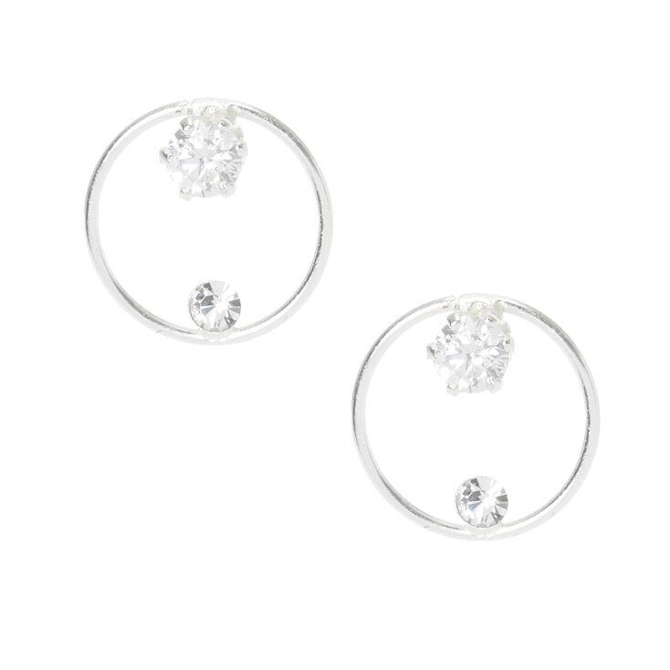 6809ff580 Sterling Silver Crystal Hoop Stud Earrings | Claire's US