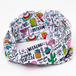 Unicorn Doodle Print Button Headwrap,