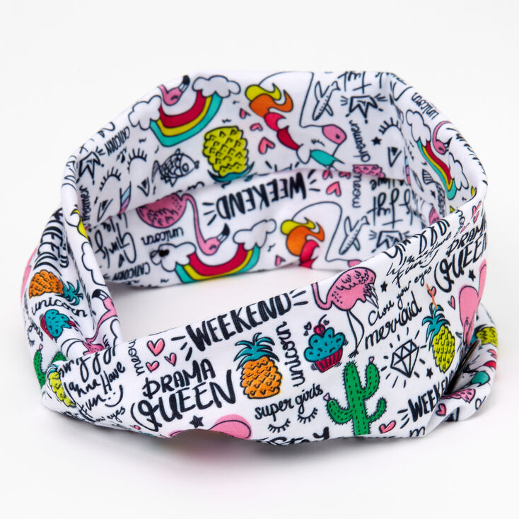Unicorn Doodle Print Button Headwrap,