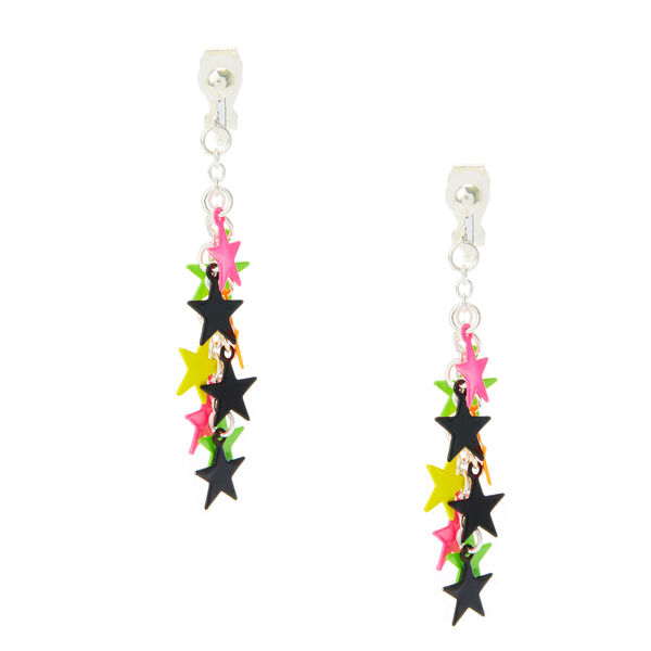 Claire's - neon star drop clip on earrings - 1