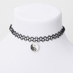 Sun & Moon Yin Yang Tattoo Choker Necklace - Black,