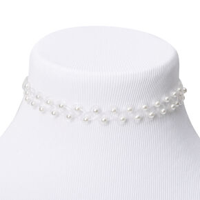 Claire's Club Pearl Tattoo Choker Necklace - White,