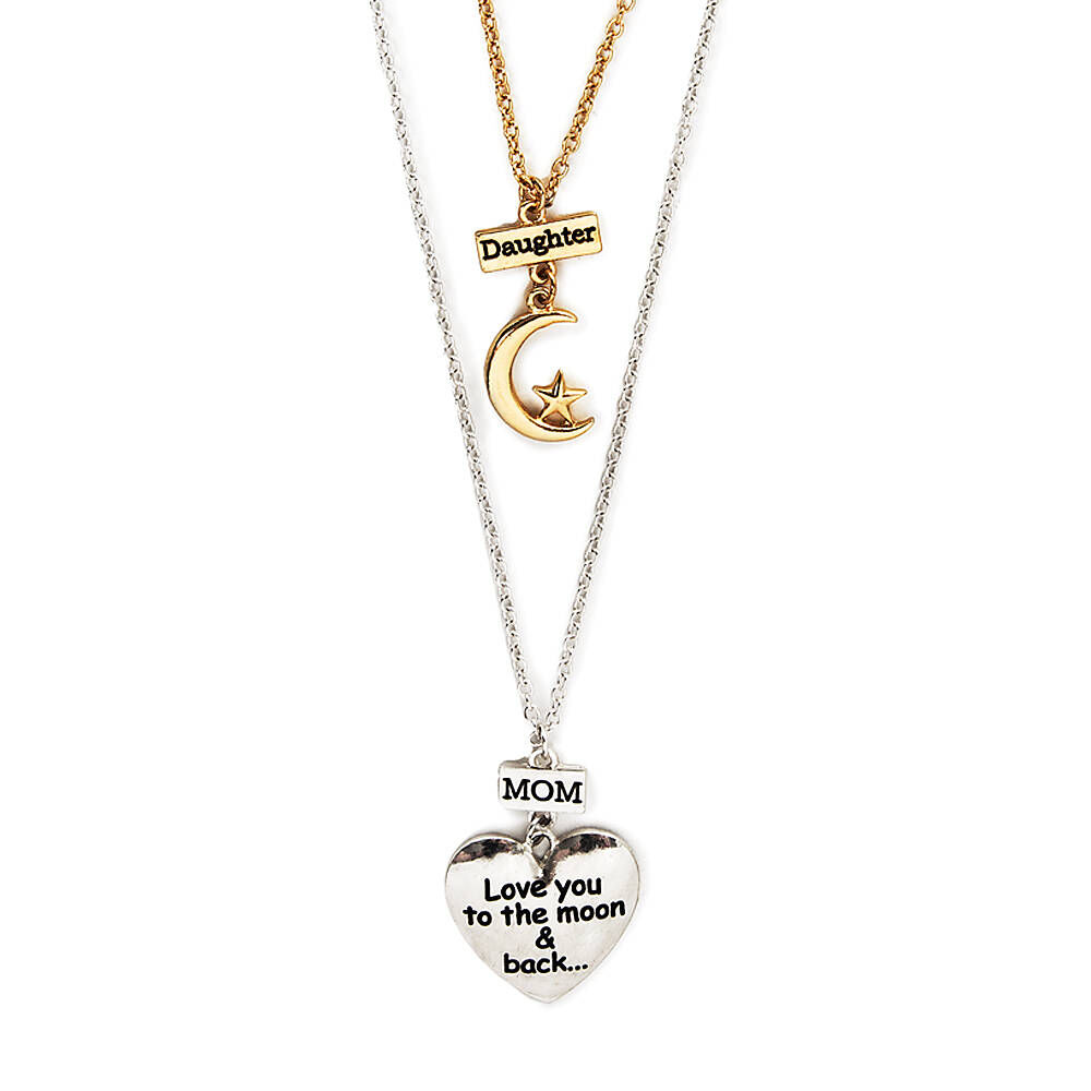 I Love You to the Moon and Back Mother Daughter Love Heart Necklace Pendant for Woman Mothers Day Gifts
