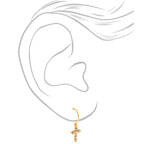 Gold 10MM Cross Huggie Hoop Earrings,