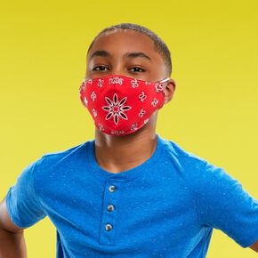 Cotton Red Bandana Print Face Mask - Adult,