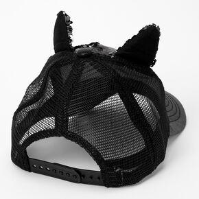 Sequin Cat Face Baseball Cap - Black,