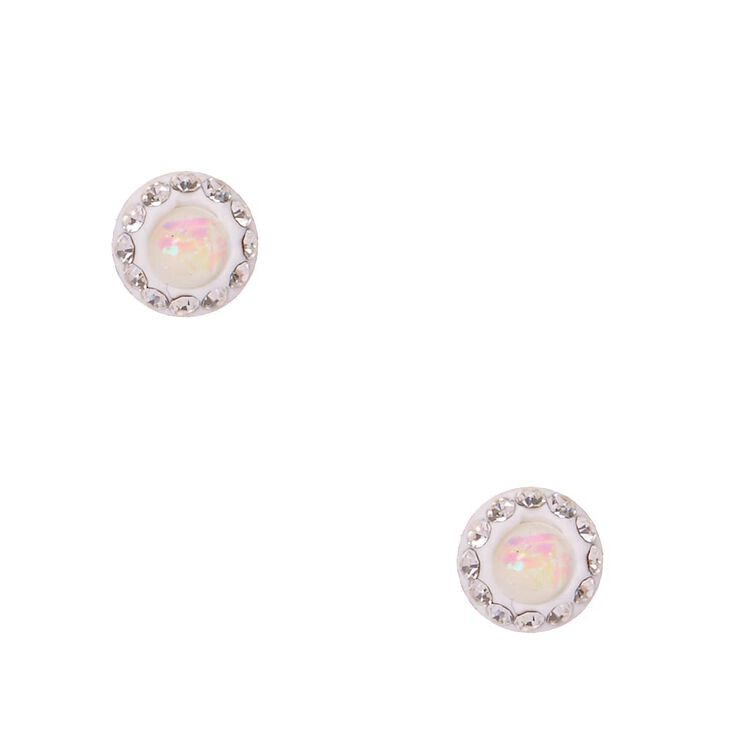 Sterling Silver Iridescent Round Crystal Stud Earrings