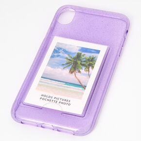 Lavender Glitter Instax Mini Pocket Protective Phone Case - Fits iPhone XR,