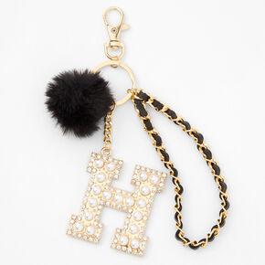 Gold Bling Initial Pom Pom Keychain - Black, H,