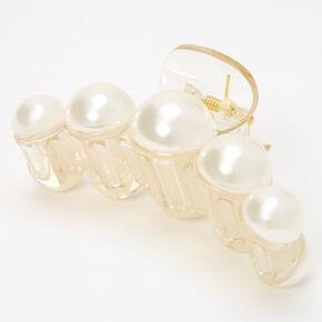 Pince à cheveux épaisse transparente avec perles d'imitation incrustées,