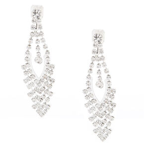 Faux Crystal Clip On Drop Earrings,