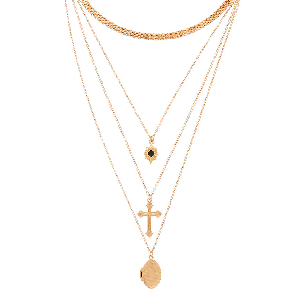 Boho Simple Chain Gold Color Tassels Feather Pendant Multi Layer Necklace