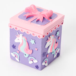Rainbow Unicorn Trinket Box - Purple,