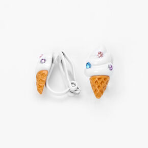 Silver Ice Cream Cone Crystal Clip On Stud Earrings,