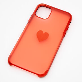 Red Frosted Heart Phone Case - Fits iPhone 11,