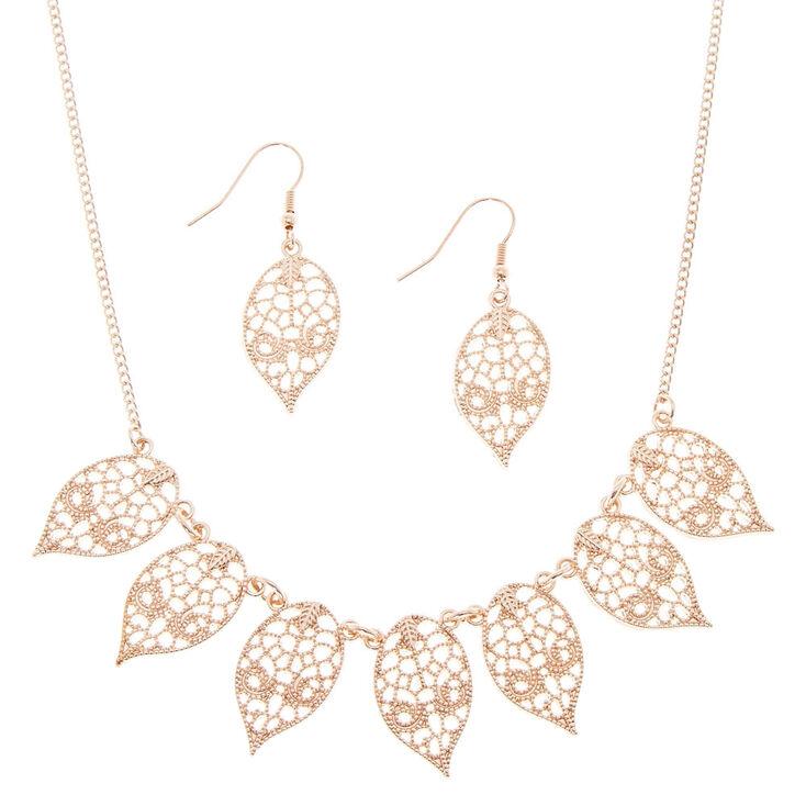 Rose Gold Filigree Leaf Jewellery Set