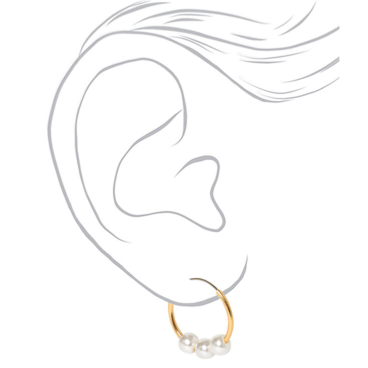Gold Classic Pearl Mixed Earrings - Ivory, 6 Pack,