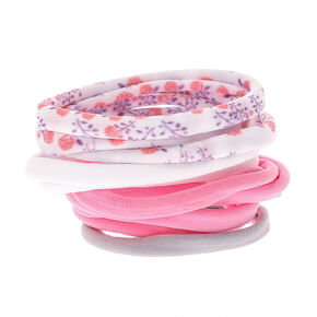 Floral Print Rolled Hair Ties - Pink,