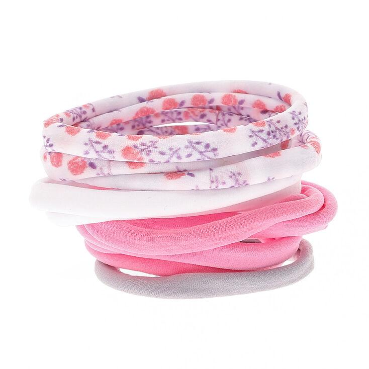 Floral Print Rolled Hair Ties - Pink,