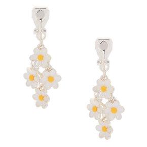 1 Daisy Clip On Drop Earrings White