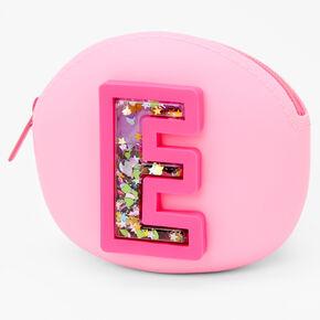 Porte-monnaie en silicone avec initiale à paillettes mobiles - Rose, E,