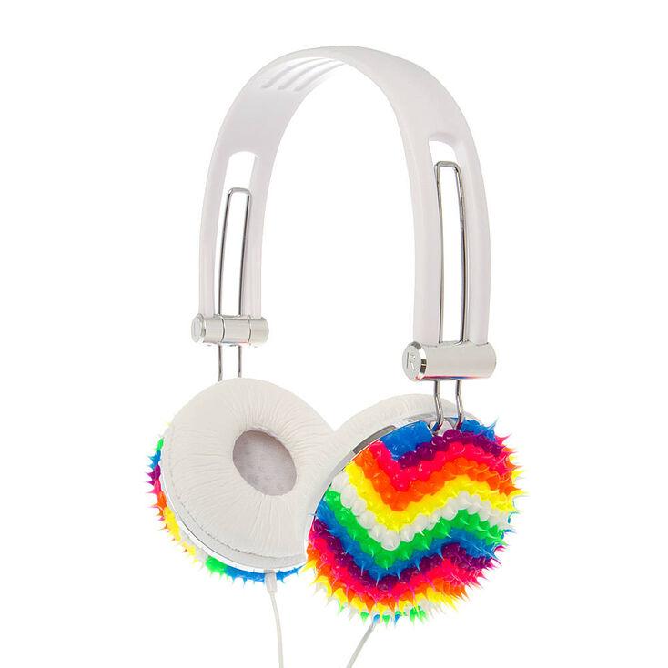 00a760cc2a741 Rainbow Chevron Rubber Spike Fashion Headphones
