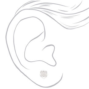 Silver Cubic Zirconia Flower Stud Earrings,