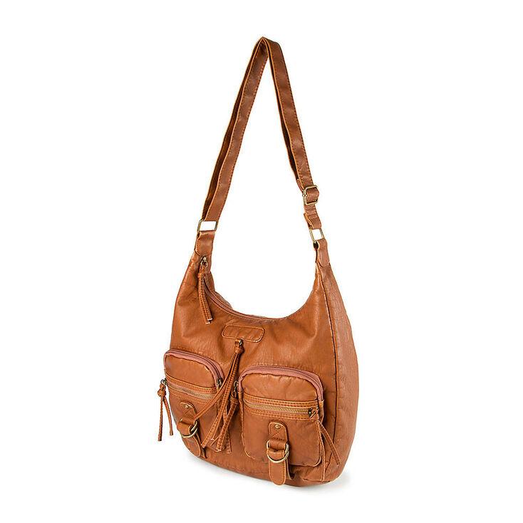 c646cd95d Cognac Faux Leather Hobo Utility Bag   Claire's US