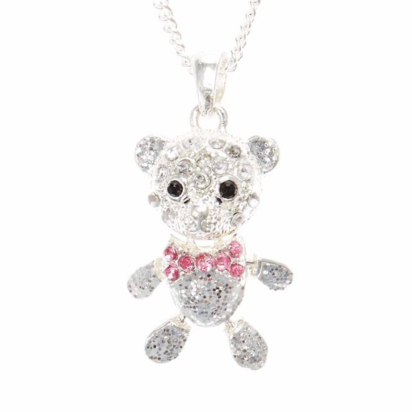 Claire's - cute crystal teddy bear pendant necklace - 1