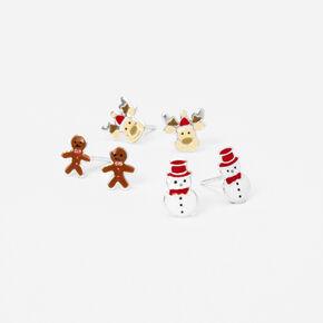 Clous d'oreilles petits motifs de Noël couleur argentée - Lot de 3,