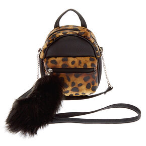 Faux Leather Leopard Cat Mini Backpack Crossbody Bag - Brown,