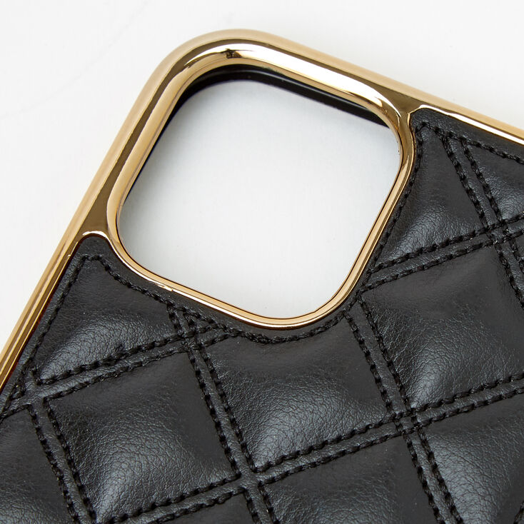 Black Quilted Phone Case with Gold Chain - Fits iPhone 12/12 Pro,