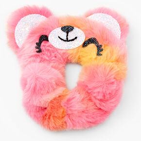 Medium Faux Fur Rainbow Teddy Hair Scrunchie,