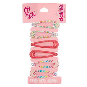 Claire's Club Glitter Snap Hair Clips - 6 Pack,