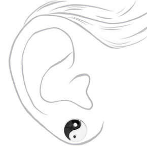 Silver Yin Yang Stud Earrings,