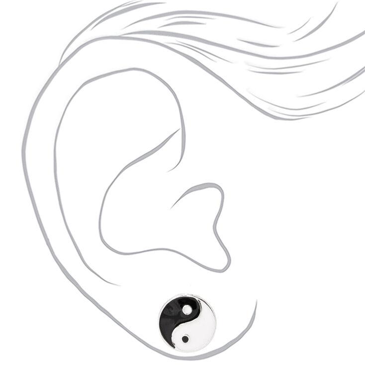 Silver Yin Yang Stud Earrings,