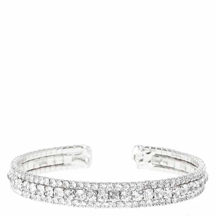 Silver Gl Rhinestone Bracelet Cuff