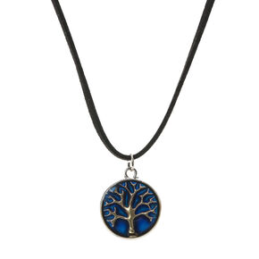 Mood Stone Tree Pendant Cord Necklace,