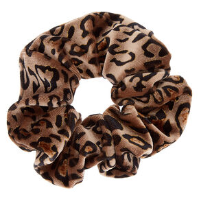Medium Leopard Velvet Hair Scrunchie - Brown,