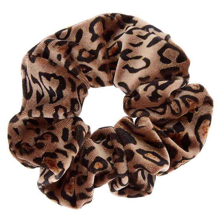 Medium Leopard Velvet Hair Scrunchie - Brown,
