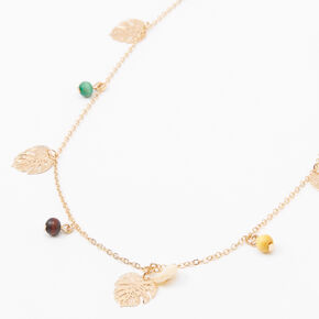 Gold Palm Leaf Wooden Bead Long Necklace,