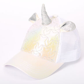 Iridescent Quilted Unicorn Trucker Hat - White,