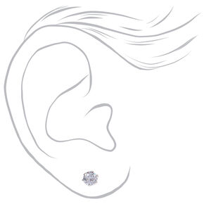 Sterling Silver Cubic Zirconia Round Stud Earrings - 2MM, 3MM, 4MM,