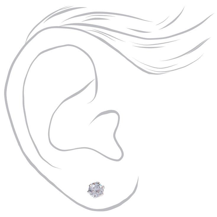 Sterling Silver Cubic Zirconia Round Stud Earrings - 2MM, 3MM, 4MM,